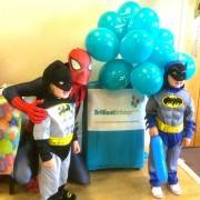 Spiderman Entertainer with two children dressed as Batman