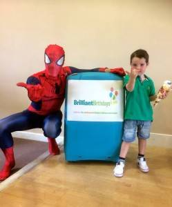 Spiderman Themed Kids Party Entertainer with a little boy
