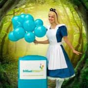 Alice In Wonderland holding Balloons in a forest