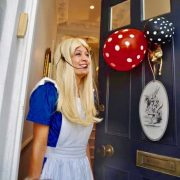 Alice In Wonderland arriving at the parties front door!