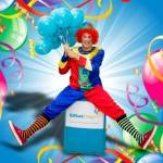 Clumsy clown party (male entertainer)
