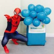 Spiderman Party with Brilliant Birthdays Balloons attending a party in London