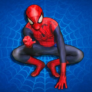 Spiderman crouched down in Spiderman position casting his web!