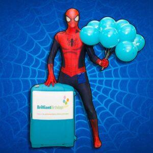 Spiderman Kids Entertainer holding Brilliant Birthdays balloons