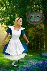 The cheshire cat and Alice in Wonderland smiling at each other