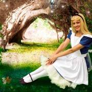 Alice In Wonderland in an enchanted forest