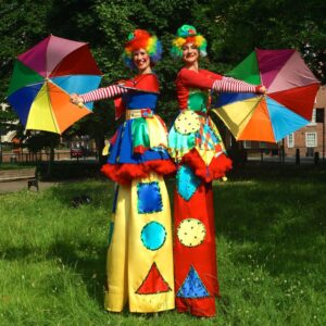 Stilt Walking Clumsy Clowns