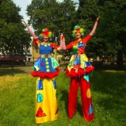 Stilt Walking Clumsy Clown Duo