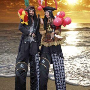 Amazing Perilous Pirate Stiltwalking Duo