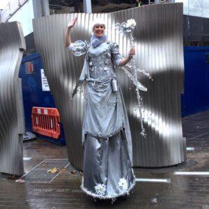 Amazing Silver Fairy Stiltwalker