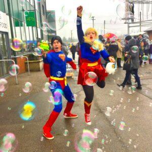 Supergirl & Superman Bubble Machine Fun London
