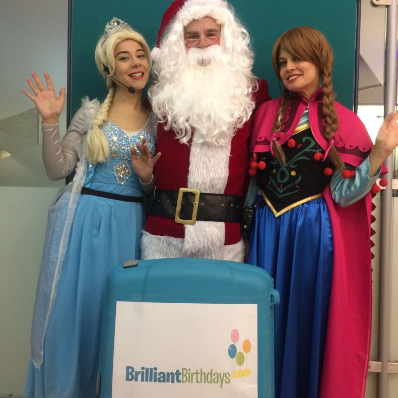 Santa Claus with Elsa & Anna Lookalike Princesses