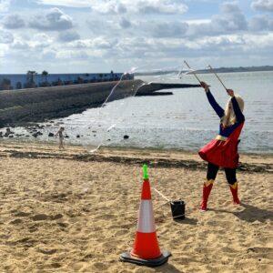 Supergirl Beach Bubble Performance