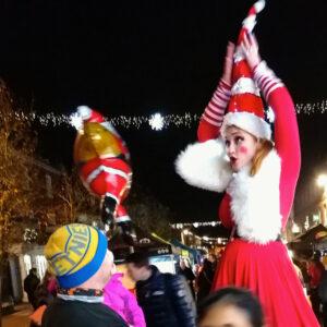 Miss Santa On Stilts