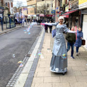 Silver Christmas Fairy On Stilts with Bubbles