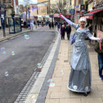Silver Fairy On Stilts with Bubbles