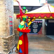 Clumsy Clown Stilt Walking Fun