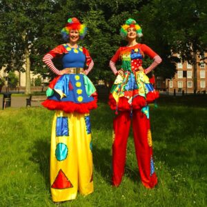Clumsy Clown Stilt Walkers Available for Hire