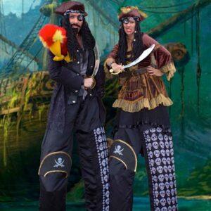 Perilous Pirate Duo On Stilts