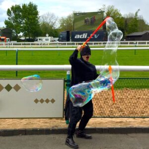 Batman Lookalike Bubble Performer
